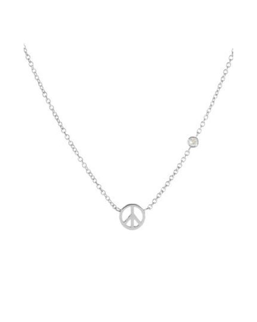 Shy By Sydney Evan - Metallic Peace Sign Necklace - Lyst