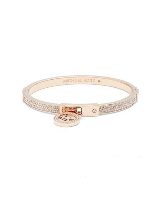 Michael Kors | Pink Rose Goldtone Fulton Hinge Charm Bracelet | Lyst