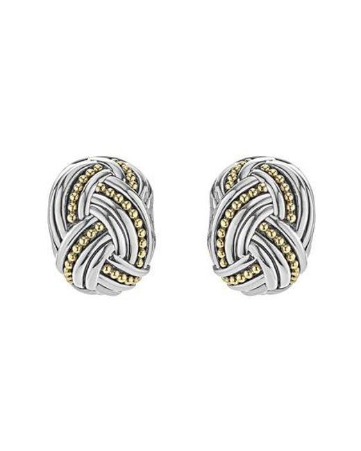 Lagos | Metallic Torsade Rectangle Omega Clip Earrings | Lyst