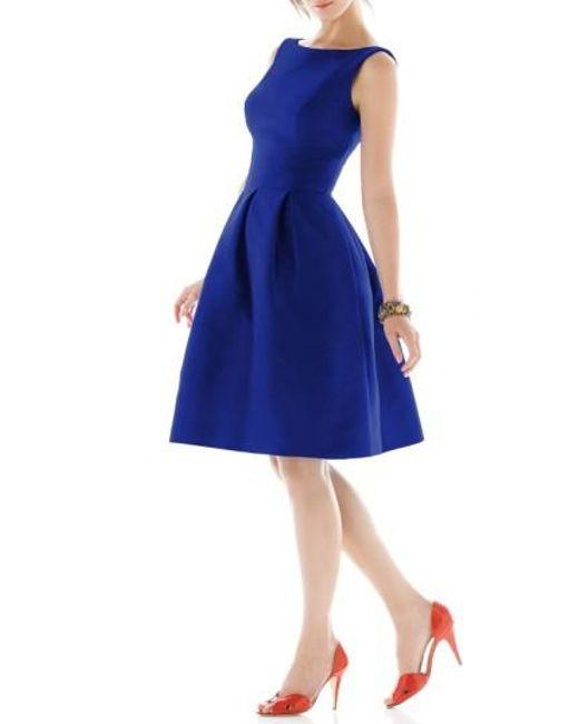 Alfred Sung | Blue Dupioni Fit & Flare Dress | Lyst