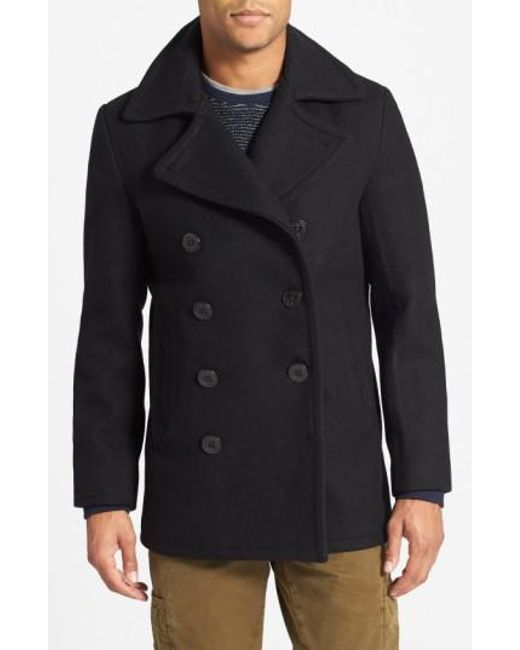 Schott nyc Slim Fit Wool Blend Peacoat in Blue for Men | Lyst
