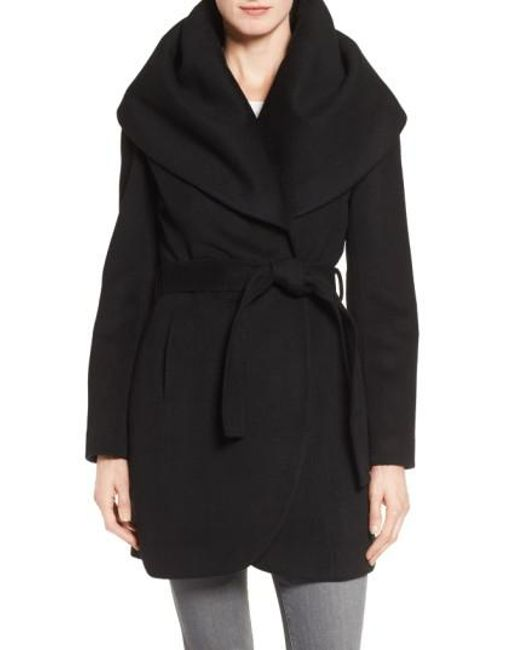 Tahari | Blue Wool Blend Belted Wrap Coat | Lyst