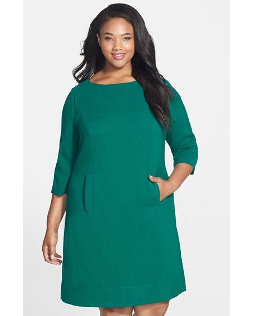 Eliza J | Green Pocket Detail Shift Dress | Lyst
