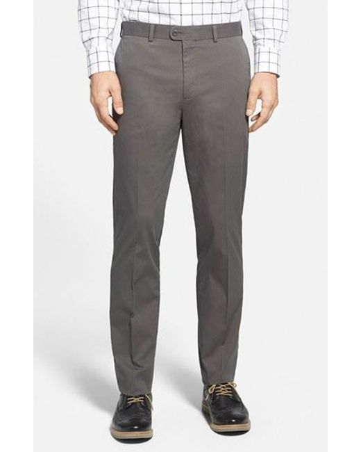 Bensol | Gray Washed Trim Fit Stretch Cotton Trousers for Men | Lyst
