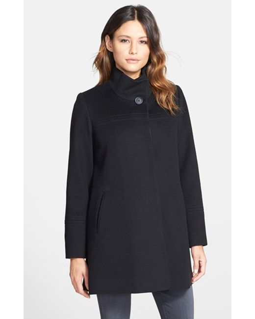 Fleurette   Black Wool Stand Collar Car Coat   Lyst
