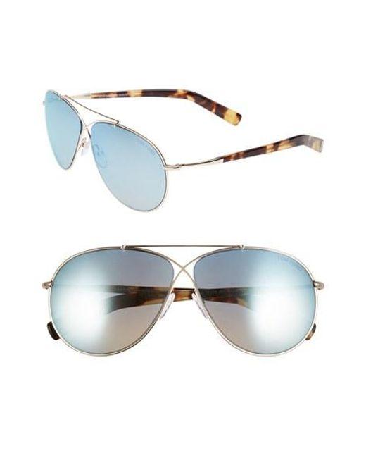 Tom Ford   Blue 'eva' 61mm Aviator Sunglasses   Lyst
