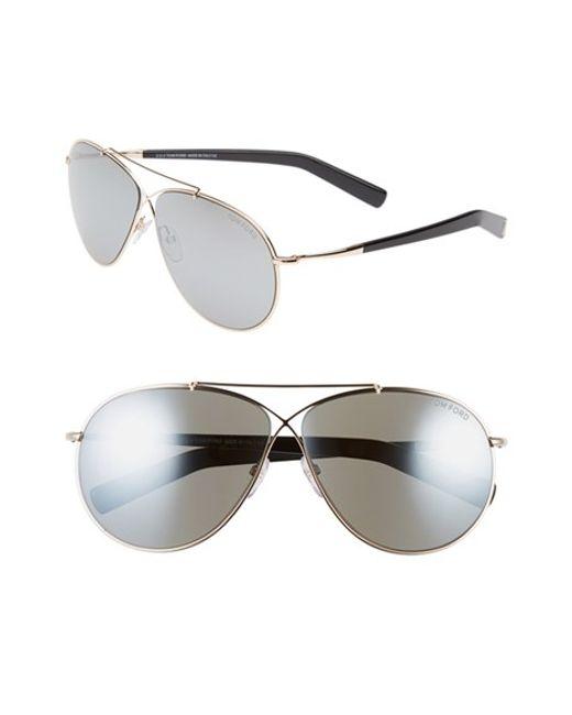 Tom Ford   Metallic 'eva' 61mm Aviator Sunglasses   Lyst