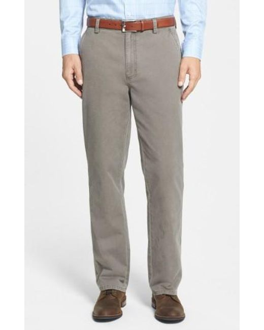 Cutter & Buck   Brown 'curtis' Flat Front Five-pocket Cotton Twill Pants for Men   Lyst