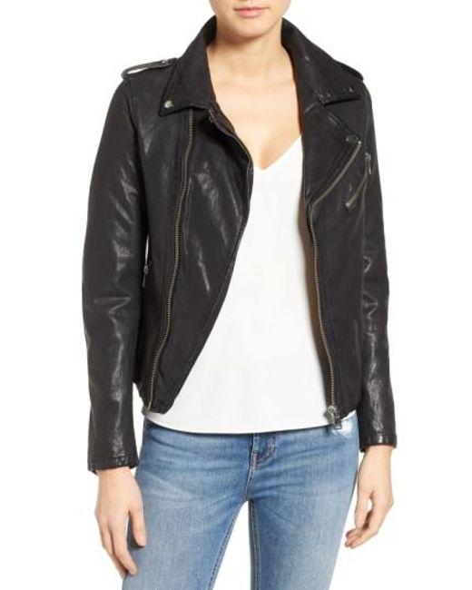 Lamarque - Black Washed Lambskin Leather Moto Jacket - Lyst