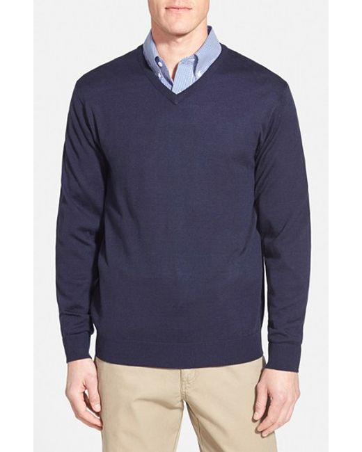 Cutter & Buck | Blue 'douglas' Merino Wool Blend V-neck Sweater for Men | Lyst