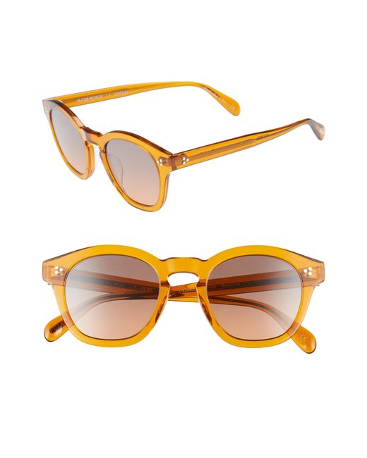 Oliver Peoples - Brown Boudreau L.a. 48mm Round Sunglasses - Smoked Topaz for Men - Lyst