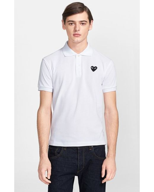 Comme des Garçons | White Play Cotton Pique Polo for Men | Lyst