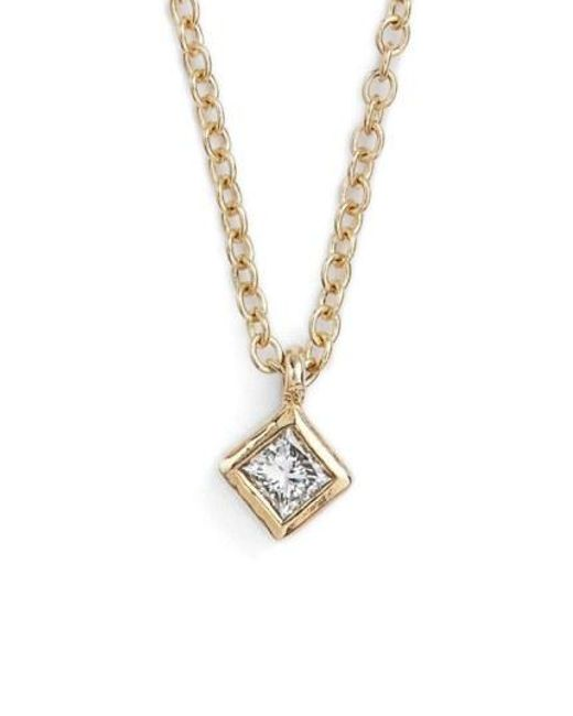 Zoe Chicco - Metallic Princess Diamond Pendant Necklace - Lyst