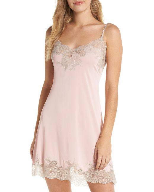 Natori - Purple Enchant Lace Trim Chemise - Lyst