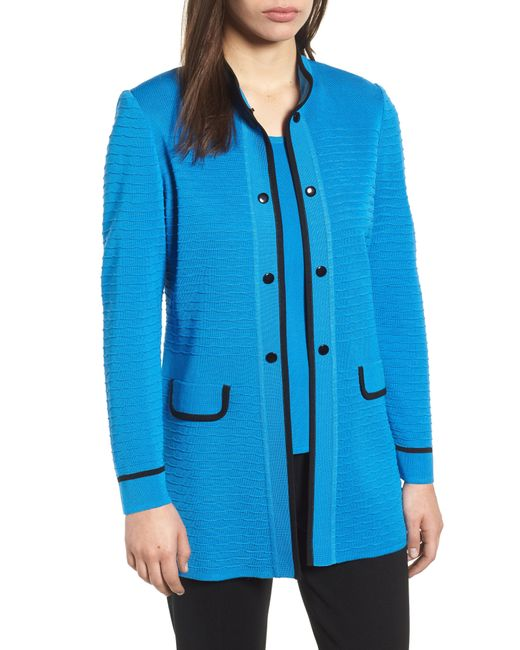Ming Wang - Blue Textured Long Jacket - Lyst