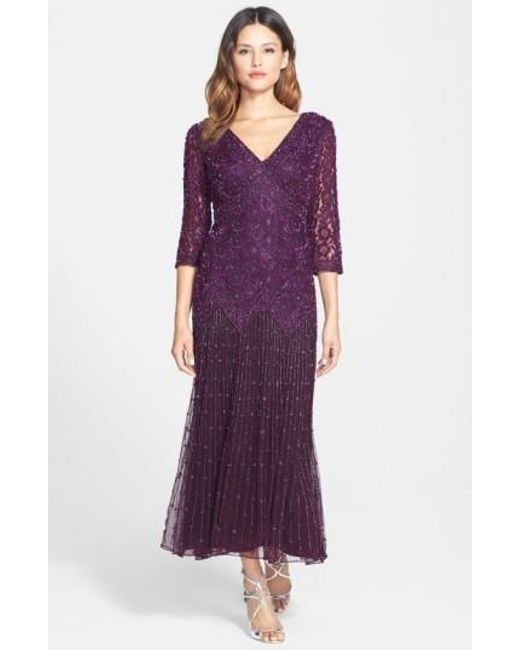 Pisarro Nights | Purple Dropped-Waist Beaded Mesh Dress | Lyst