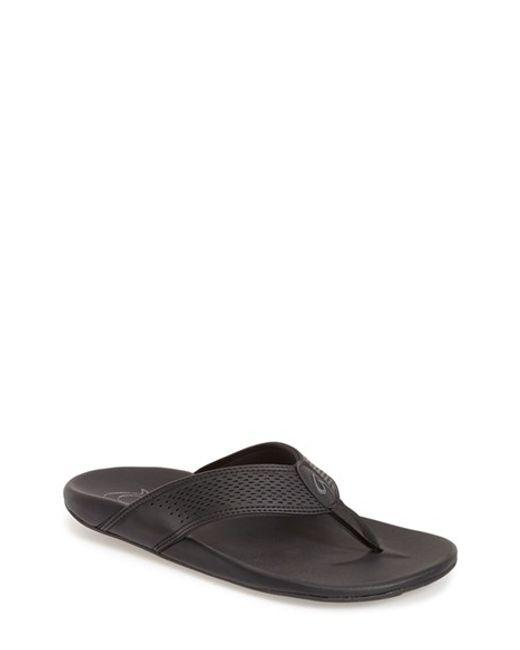 Olukai | Black 'kekoa' Water Resistant Perforated Flip Flop for Men | Lyst