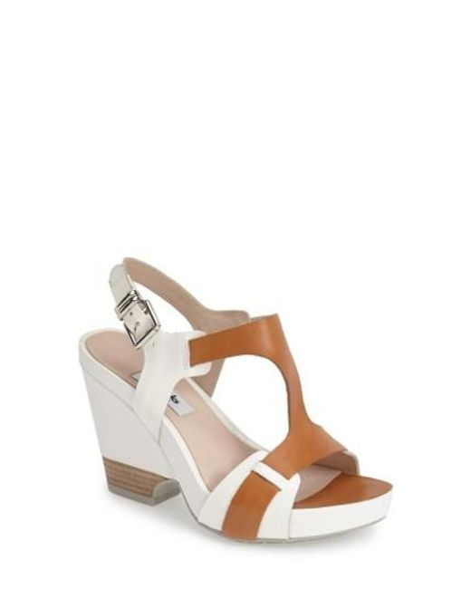 Clarks | Brown 'Rosalie Petal' Demi-Wedge Leather Sandal | Lyst