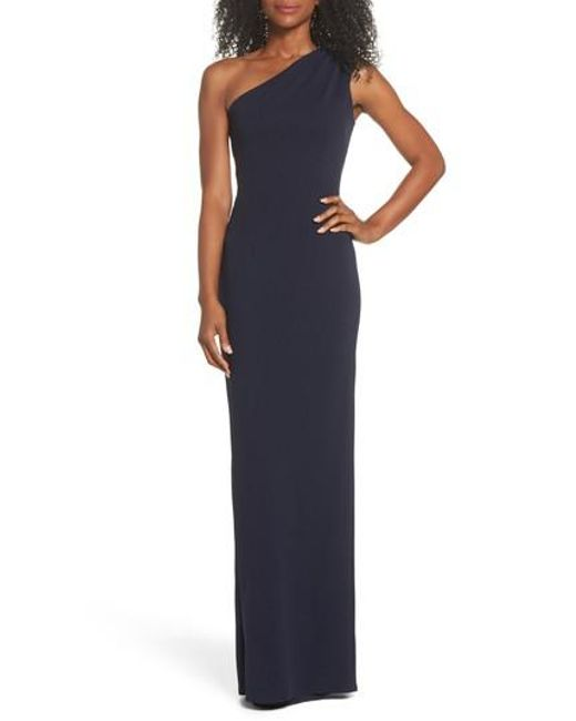 Katie May - Blue Angelina One-shoulder Crepe Column Gown - Lyst