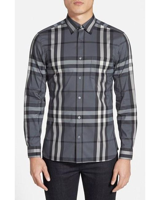 Burberry Brit | Gray 'nelson' Slim Fit Check Sport Shirt for Men | Lyst