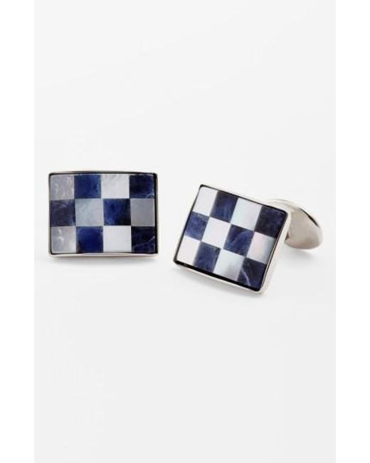 David Donahue   Blue Checkerboard Cuff Links for Men   Lyst