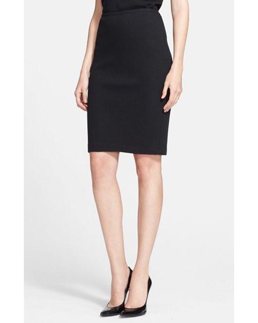St. John | Black Milano Pique Knit Pencil Skirt | Lyst
