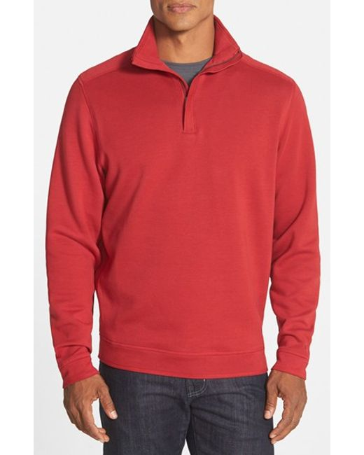 Cutter & Buck | Red 'decatur' Quarter Zip Pullover for Men | Lyst