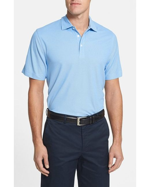Cutter & Buck | Blue 'blaine Oxford' Moisture Wicking Dry Tec Polo for Men | Lyst