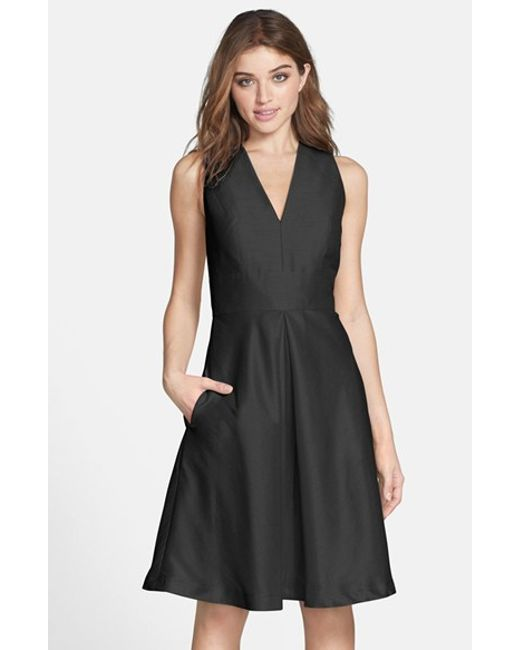 Alfred Sung | Black V-neck Dupioni Cocktail Dress | Lyst