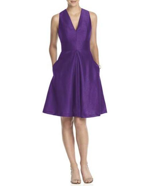 Alfred Sung | Purple V-neck Dupioni Cocktail Dress | Lyst