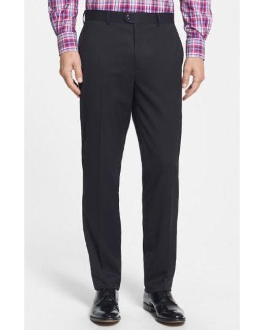 Bensol | Black Gab Trim Fit Flat Front Pants for Men | Lyst