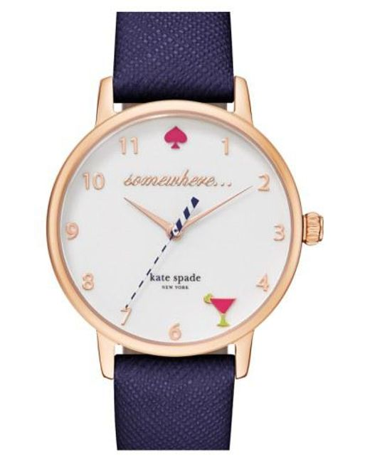 Kate Spade - Blue 'metro - Somewhere' Leather Strap Watch - Lyst