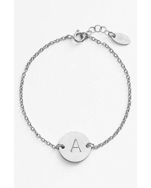 Nashelle - Metallic Sterling Silver Initial Disc Bracelet - Lyst