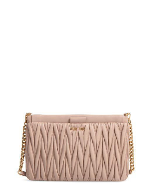 Miu Miu - Pink Matelasse Leather Clutch - - Lyst