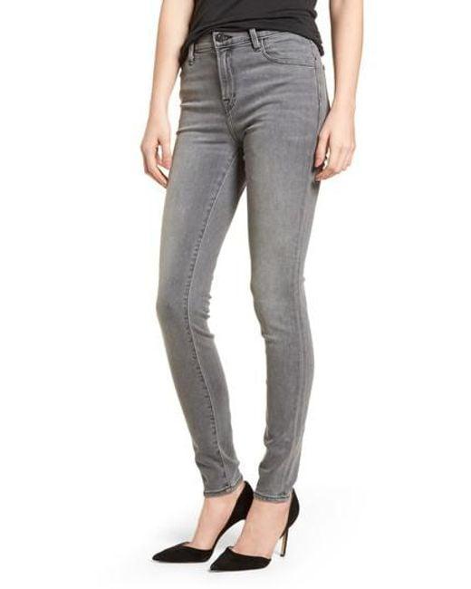 J Brand - Gray Maria High Waist Skinny Jeans - Lyst