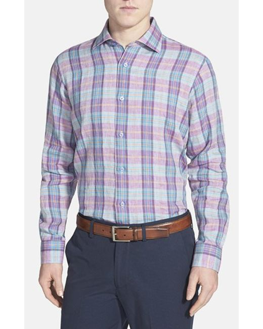 Robert Talbott | Purple 'crespi Ii' Classic Fit Plaid Linen Sport Shirt for Men | Lyst