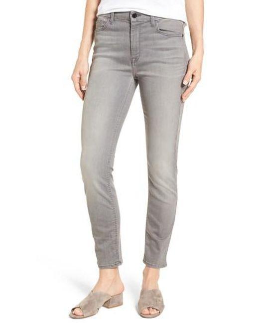 Jen7 - Gray Stretch Ankle Skinny Jeans - Lyst