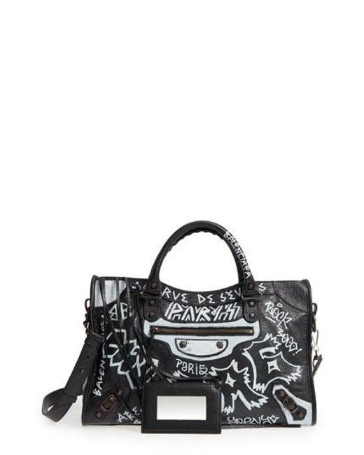 Balenciaga - Black City Graffiti Leather Tote - - Lyst