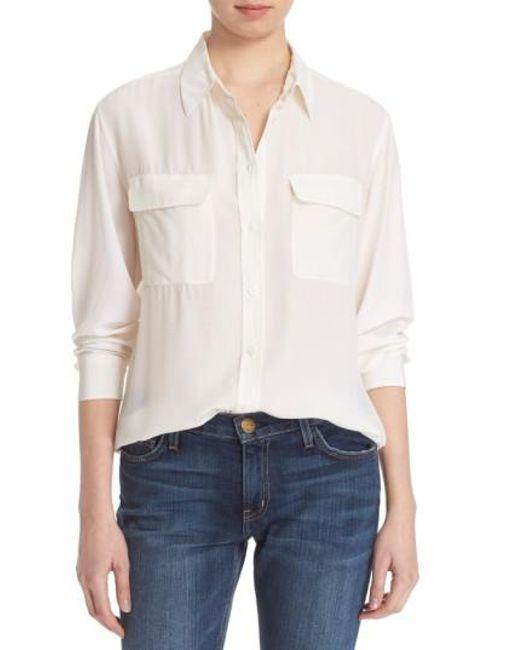 Equipment   White 'signature' Silk Shirt   Lyst