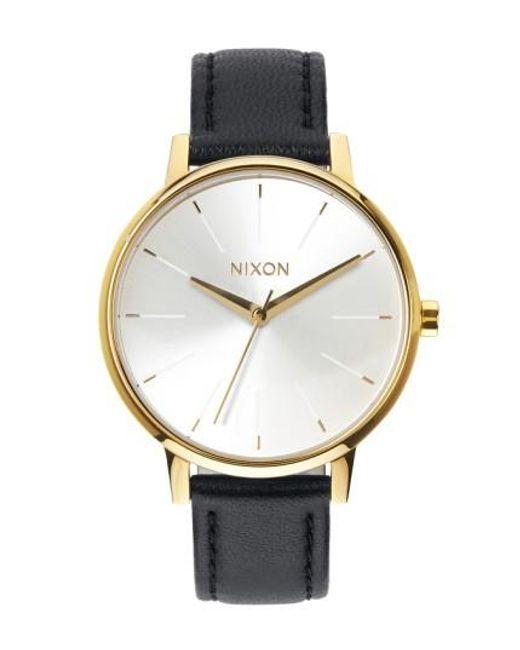 Nixon | Metallic 'the Kensington' Leather Strap Watch | Lyst