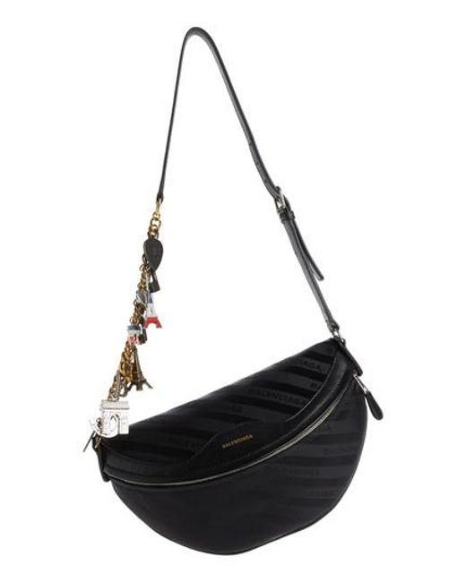 Balenciaga - Black Extra Small Souvenir Logo Belt Bag - Lyst