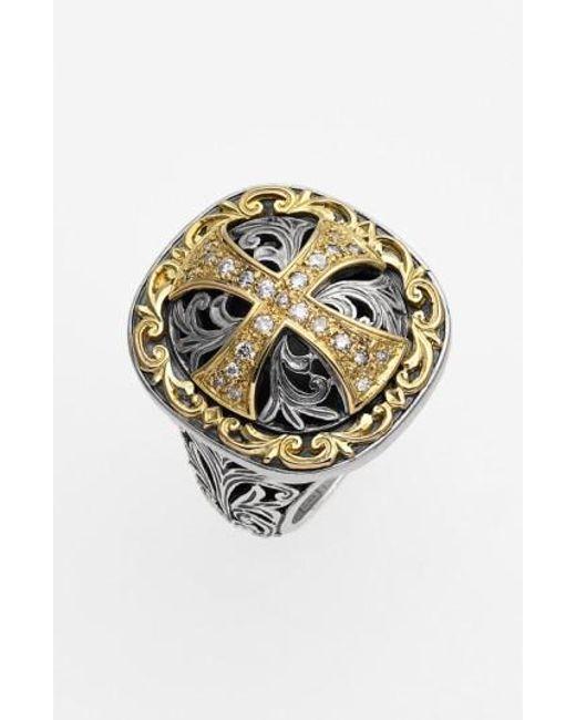 Konstantino   Metallic 'diamond Classics' Diamond Cross Two-tone Ring   Lyst
