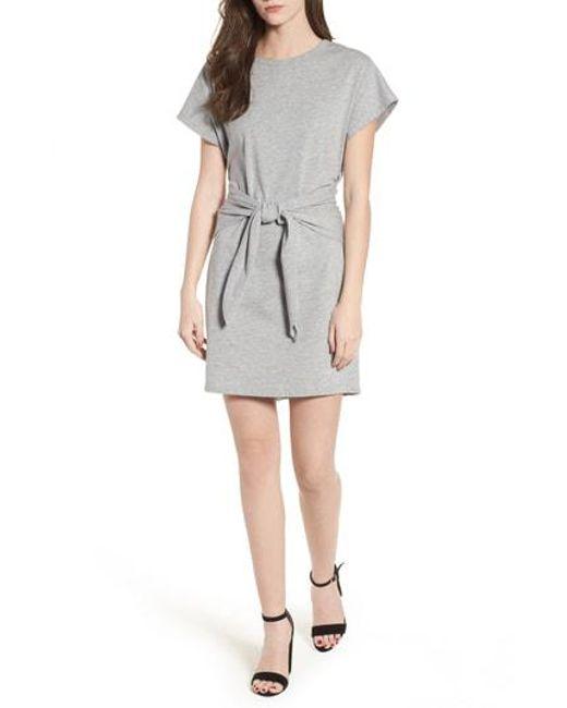 Nordstrom - Gray Tie Waist T-shirt Dress - Lyst