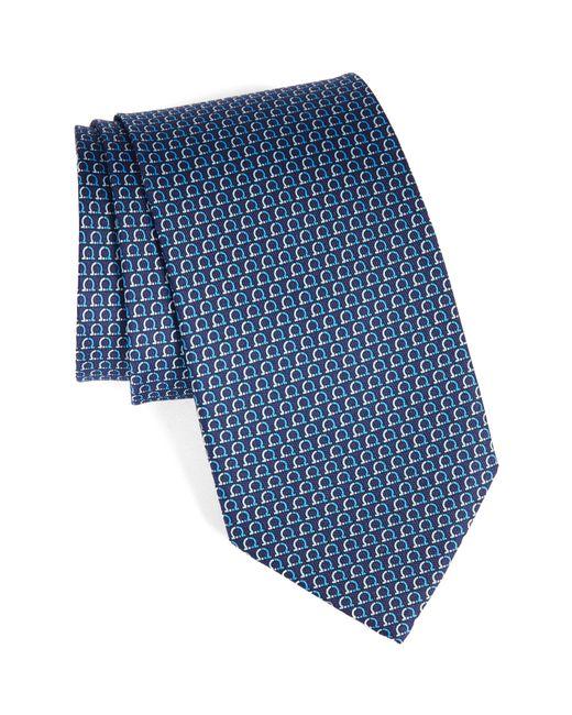 Ferragamo - Blue Gancini Print Silk Tie for Men - Lyst