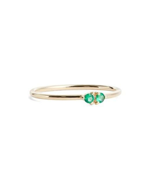 Wwake | Green Double Emerald Ring (nordstrom Exclusive) | Lyst