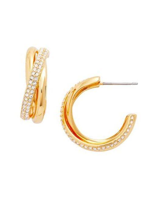 Nadri | Metallic Trinity Pave Hoop Earrings | Lyst