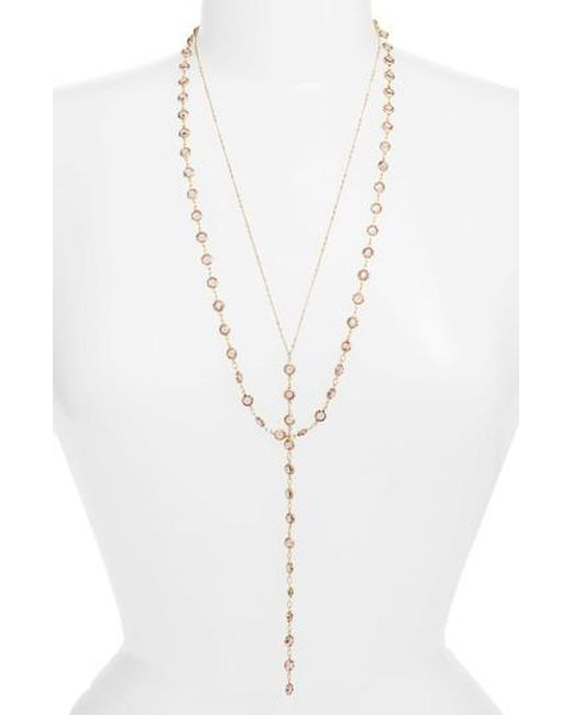 Serefina | Metallic Layered Y-necklace | Lyst