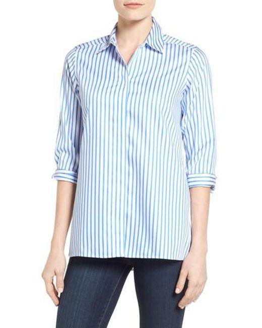 Foxcroft | Blue Gigi Non-iron Stripe Sateen Tunic Shirt | Lyst