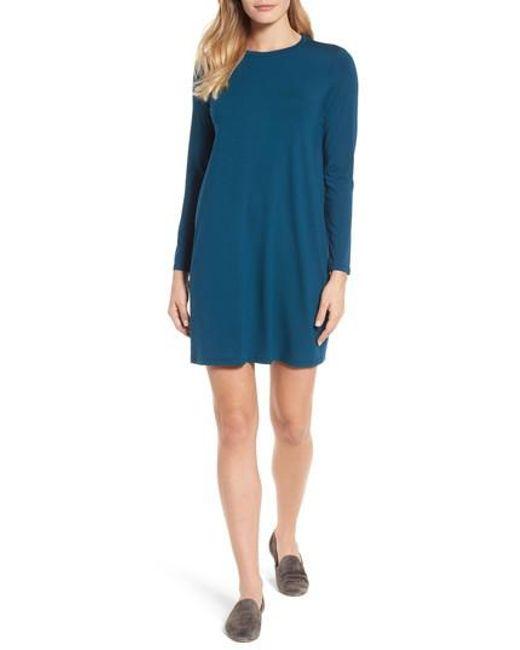 Eileen Fisher   Blue Jersey Shift Dress   Lyst