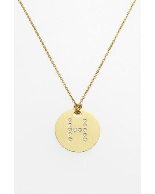 Roberto Coin - Metallic 'tiny Treasures' Diamond Initial Disc Pendant Necklace - Lyst